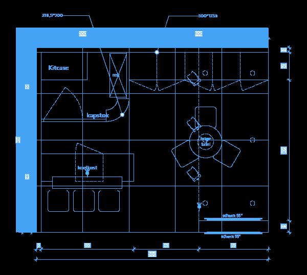 Technisch grondplan van een beursstand met afmetingen van de stand en plaatsing van het beursmeubilair | © www.Expopoint.be